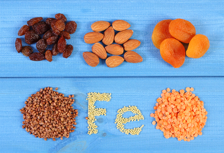 ferrum: Inscription Fe, products and ingredients containing ferrum and dietary fiber, natural sources of iron, healthy lifestyle and nutrition