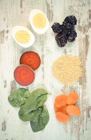 ferrum: Vintage photo, Ingredients and products containing iron and dietary fiber, natural sources of ferrum, healthy lifestyle, food and nutrition Stock Photo