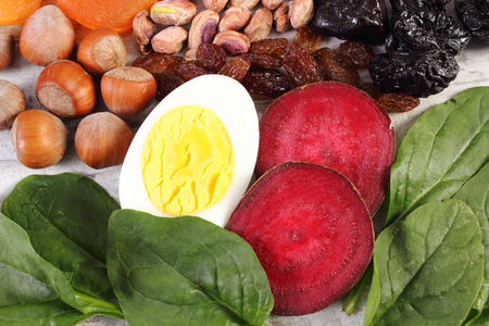 ferrum: Ingredients containing iron or dietary fiber, natural sources of ferrum, healthy lifestyle, food and nutrition