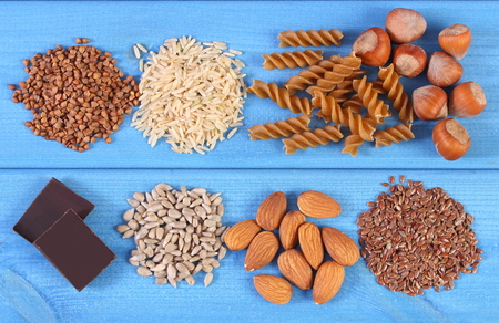 dietary fiber: Natural ingredients, products containing magnesium or dietary fiber, healthy food and nutrition