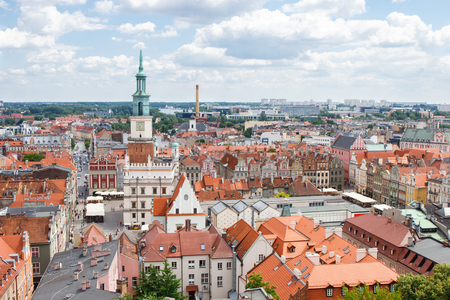 tenement buildings: Poznan, Poland - June 28, 2016: View from tower on town hall, old and modern buildings in center of polish city Poznan, Greater Poland province Editorial