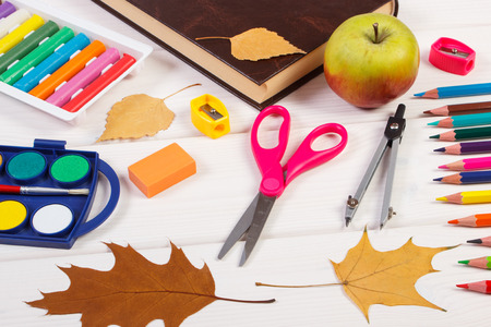 teaching crayons: Book, school accessories and orange leaves on white boards, autumn and back to school concept