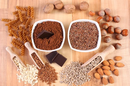 dietary fiber: Fresh, natural ingredients or products containing magnesium and dietary fiber, healthy food and nutrition