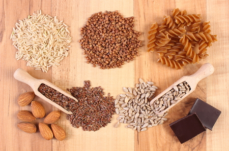 dietary fiber: Fresh, natural ingredients and products containing magnesium and dietary fiber, healthy food and nutrition