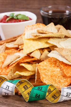 potato crisps: Tape measure, potato crisps, cookies, breadsticks, sauce with basil and glass of cola, concept of slimming and restriction eating unhealthy food