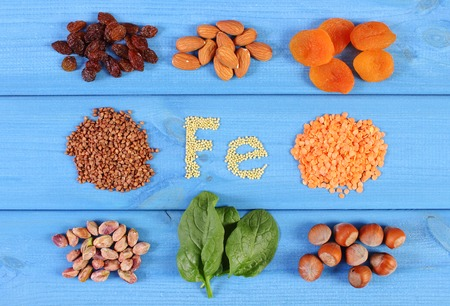 ferrum: Inscription Fe, ingredients or products containing iron and dietary fiber, natural sources of ferrum, healthy lifestyle and nutrition
