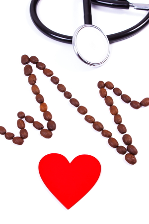 ecg heart: Electrocardiogram line of roasted coffee grains, red heart and medical stethoscope on white background, ecg heart rhythm, medicine and healthcare concept