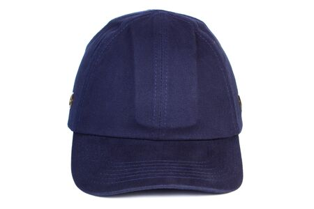 azul marino: Closeup of navy blue baseball cap isolated on white background, protection from sun