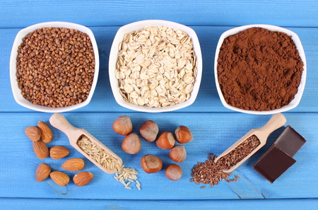 fiber food: Natural ingredients or products containing magnesium and dietary fiber, healthy food and nutrition