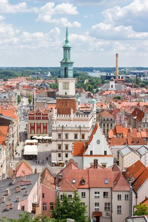 apartment tower old town: Poznan, Poland - June 28, 2016: View from tower on town hall, old and modern buildings in center of polish city Poznan, Greater Poland province Editorial