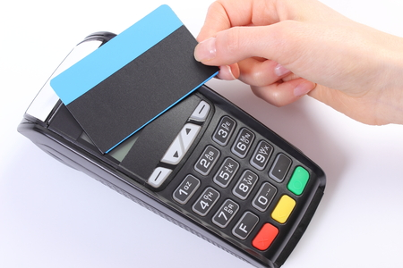 contactless: Banking and finance concept, Hand of woman using payment terminal with contactless credit card