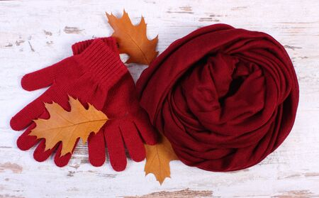 womanly: Womanly clothes and autumnal leaves, gloves shawl, warm clothing for autumn or winter, old rustic wooden background Stock Photo