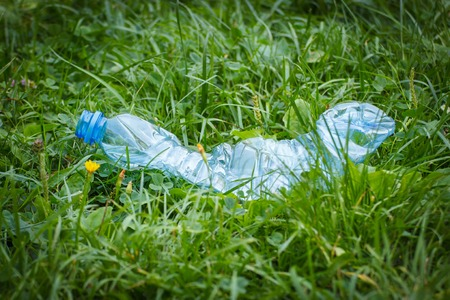 tirar basura: Crushed plastic bottle of mineral water on grass in park, concept of environmental protection, littering of environment