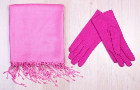 womanly: Womanly clothes on wooden surface plank, gloves and shawl or scarf, warm clothing for autumn or winter