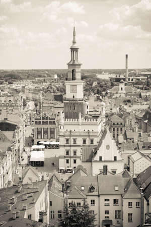 apartment tower old town: Poznan, Poland - June 28, 2016: Black and white photo, View from tower on town hall, old and modern buildings in polish city Poznan Editorial