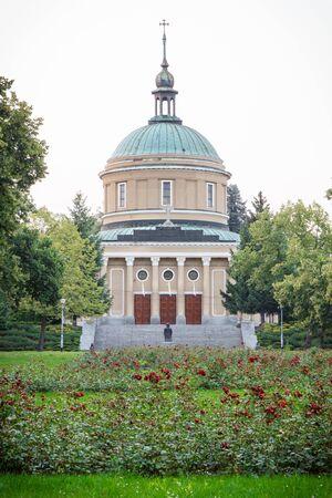 wielkopolskie: Poznan, Poland - July 25, 2016: View on church of St. John Vianney in polish city Poznan in Solacki park