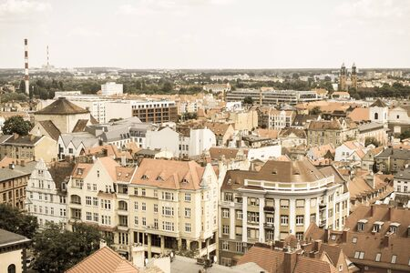 Poznan, Poland - June 28, 2016: Vintage photo, View from tower on old and modern buildings in polish city Poznan, Greater Poland province Editorial