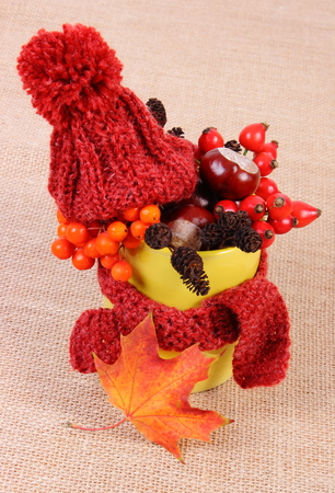 Autumn decoration with yellow cup wrapped woolen scarf and woolen cap on jute canvas