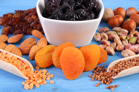 fiber food: Ingredients and products containing iron and dietary fiber, natural sources of ferrum, healthy lifestyle, food and nutrition Stock Photo