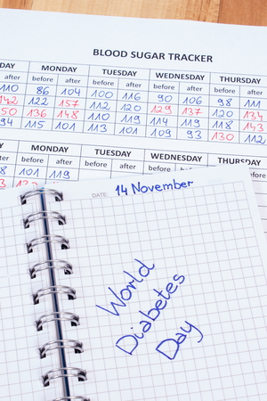medical fight: World diabetes day written in notebook, medical forms with results of measurement of sugar, symbol of diabetic and fight against diabetes