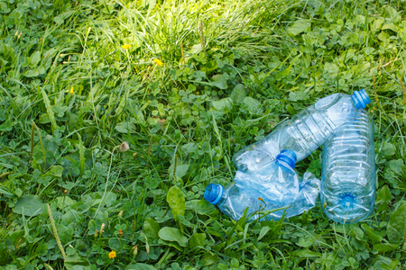 botar basura: Crushed plastic bottles of mineral water on grass in sunny park, concept of environmental protection, littering of environment