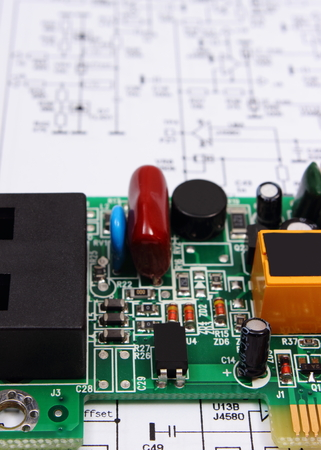 printed circuit board with electrical components lying on rh 123rf com