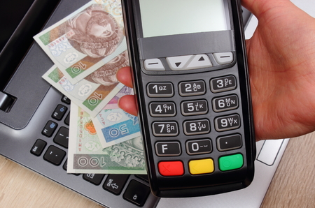 personal identification number: Hand of woman using payment terminal, enter personal identification number, credit card reader, polish currency money on laptop, finance and banking concept Stock Photo