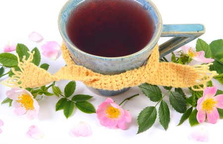wild rose: Cup of hot tea with wild rose wrapped woolen scarf and blooming flowers on white background