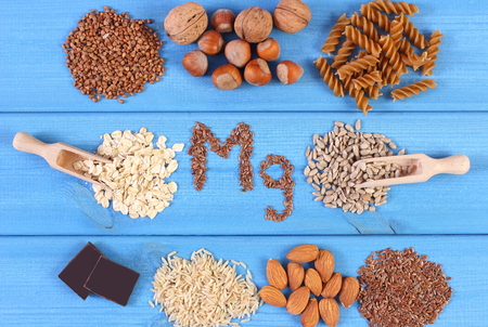 Inscription Mg, ingredients and products containing magnesium and dietary fiber, healthy nutrition