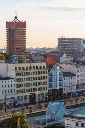 wielkopolskie: Poznan, Poland - August 30, 2016: View at sunset from tower on economic academy and buildings and offices in polish city Poznan, Greater Poland province