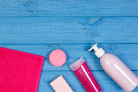 Cosmetics and accessories for personal hygiene in bathroom, concept of body care, copy space for text