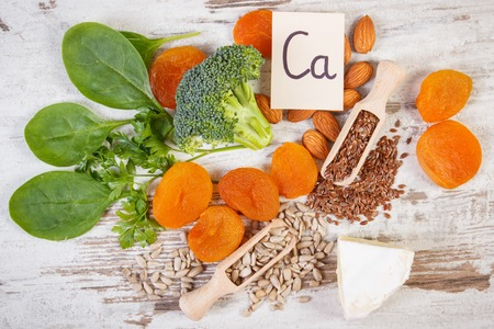 Ingredients or products containing calcium and dietary fiber, natural sources of minerals, healthy lifestyle and nutrition