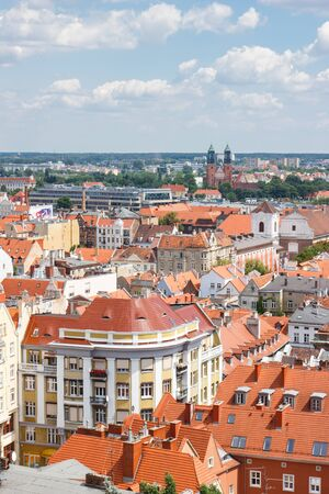 apartment tower old town: Poznan, Poland - June 28, 2016: View from tower on old or modern buildings in polish city Poznan, Greater Poland province
