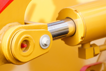 Detail and part of industrial hydraulic or pneumatic machinery, piston or actuator, engineering and technology concept