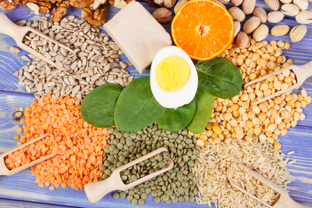 containing: Ingredients or products containing vitamin B1, dietary fiber and natural minerals, healthy lifestyle and nutrition Stock Photo