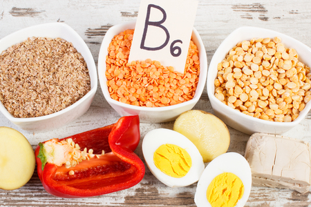 Ingredients or products containing vitamin B6, dietary fiber and natural minerals, healthy lifestyle and nutrition Stock Photo