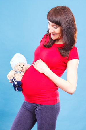 extending: Happy smiling pregnant woman holding fluffy teddy bear at her belly, concept of expecting for newborn, extending family and toy for kids