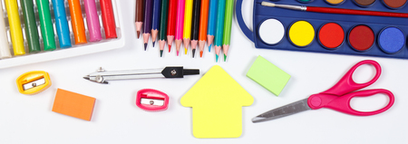 School and office accessories on white background, back to school concept Stock Photo