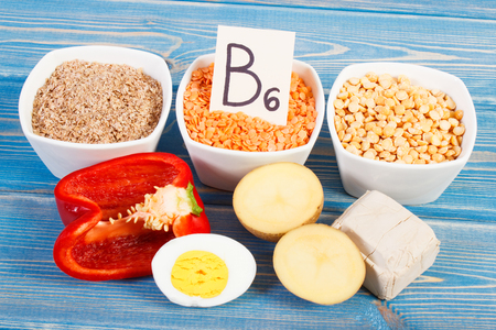 Ingredients or products containing vitamin B6, natural minerlas and dietary fiber, healthy lifestyle and nutrition concept Stock Photo