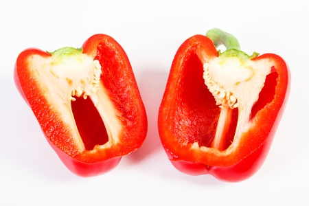 Fresh red ripe peppers on white background, concept of healthy nutrition