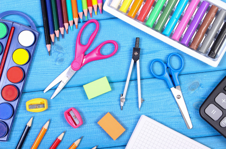 School and office accessories on blue boards, back to school concept Stock Photo