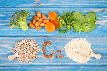Ingredients or products containing calcium, dietary fiber and minerals, healthy lifestyle and nutrition Stok Fotoğraf