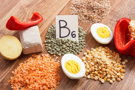 Ingredients or products containing vitamin B6 and dietary fiber, natural sources of minerals, concept of healthy lifestyle and nutrition Stock Photo