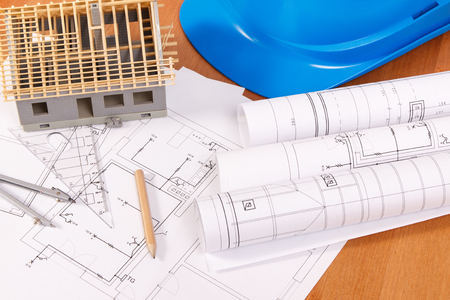Electrical diagrams, accessories for engineer jobs and house under construction, concept of building home