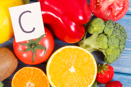 Fresh healthy fruits and vegetables as sources of minerals containing vitamin C and dietary fiber, healthy nutrition and strengthening immunity concept