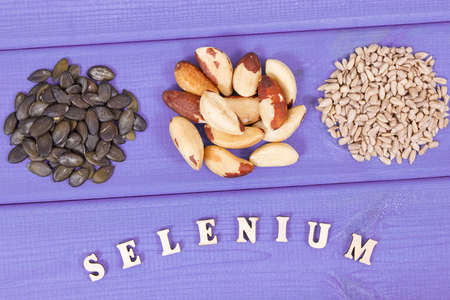 Fresh natural food containing selenium, dietary fiber and minerals, concept of healthy nutrition