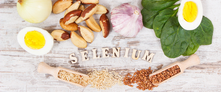 Natural products and ingredients containing selenium, dietary fiber and minerals, concept of healthy nutrition Stock Photo