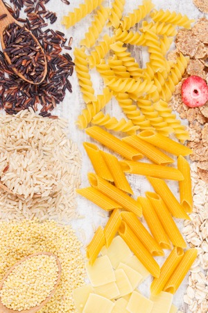 Natural ingredients and products as source carbohydrates, vitamins, minerals and dietary fiber, healthy nutrition concept