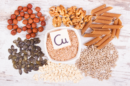 Healthy food containing copper, dietary fiber and natural minerals, concept of healthy nutrition