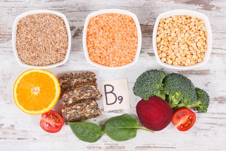 Nutritious food as source vitamin B9, dietary fiber, folic acid and natural minerals, concept of healthy lifestyles